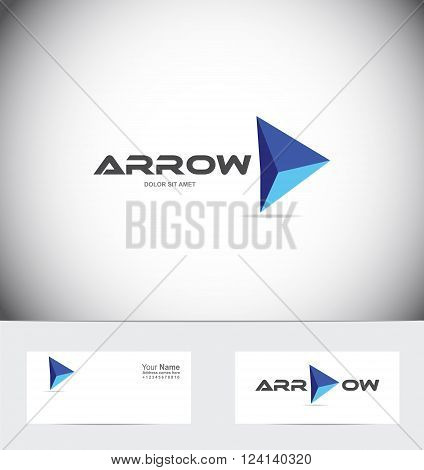 Vector company logo icon element template blue arrow concept business success