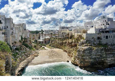 wonderful village in the rocks Polignano a mare on Mediterranean sea Apulia Southern Italy