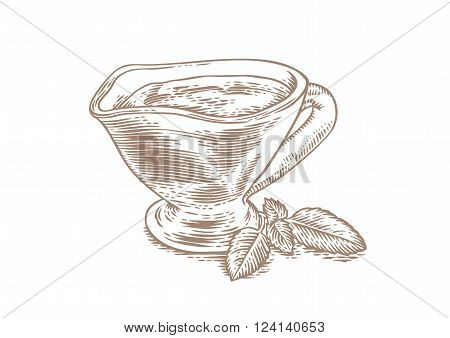 Drawing of glasses gravy boat with red tomato sauce and fresh green basil leaves