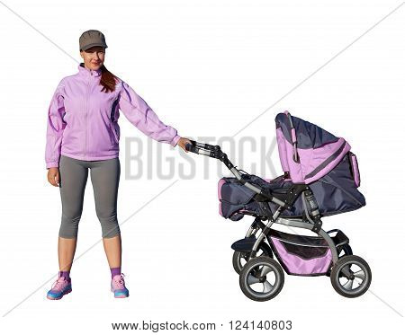 A Young mother athlete with a baby buggy lilac isolated on white background