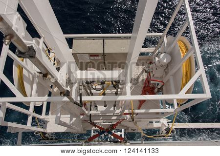 winch on the stern of the cruise ship