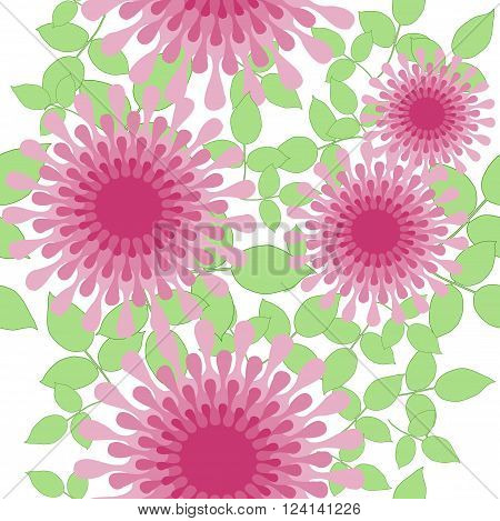 Abstract geometric floral background. Seamless blossoms in pink and red violet shades with light green leaves on white, conspicuous and dreamy.