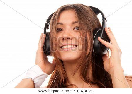 Pretty Young Dj Woman Listening Music