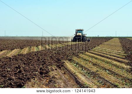 Field of harvested broccoli being plowed to plant again in the Imperial Valley of California.
