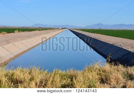 Large irrigation canal between two fields near Blythe, California.