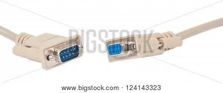 Serial communication connectors. Objects isolated on a white background without shadows.