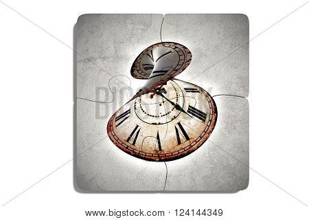 Four Puzzle Pieces With Twisted Clock