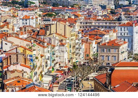Cannes, France, - March 1, 2016: Panoramic view of Le Suquet - the old town of Cannes France Cote d'Azur