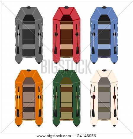 set of rubber boats in different colors of high quality material. totally vector illustration