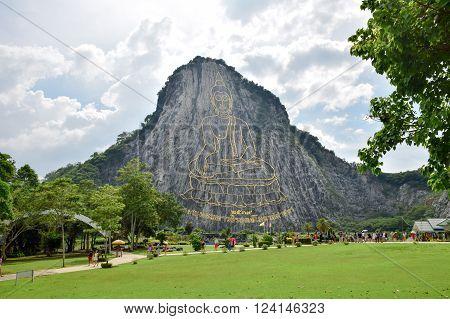 Chonburi / Thailand - Nov 2015:Khao Chee Chan and Golden Buddha laser carved Chonburi Thailand on Nov 06 2015 in Chonburi Thailand.;