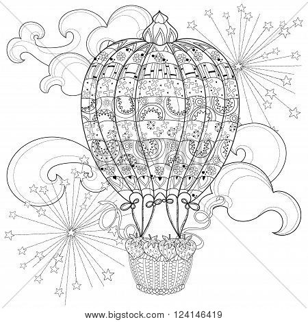 Hand drawn doodle outline  air baloon in flight decorated with floral ornaments.Vector zentangle illustration.Floral ornament.Sketch for tattoo, poster, children or adult coloring pages.Boho style.