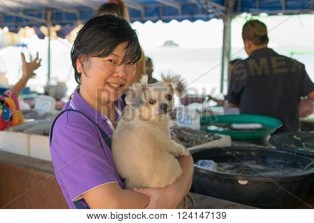 Thai Woman Shopping A Seafood In Market