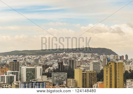 QUITO, ECUADOR - OCTOBER - 2015 - Cityscape aerial view of Quito from the top of San Juan Basilica church.