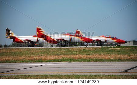 IZMIR/TURKEY-JUNE 5, 2011: Spanish Air Force's Aerobatic Display Team Patrulla Aguila's Casa C-101 Aircrafts at 2nd Main Jet Base Cigli for Airshow. June 5, 2011-Izmir/Turkey