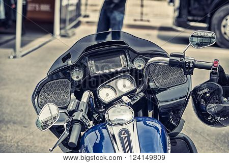 Wroclaw, Poland June 27, 2015: Cockpit And Logo Of Harley - Davidson On One Of The Motorcycles Durin