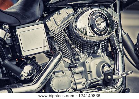 Wroclaw, Poland June 27, 2015: Detail And Logo Of Harley - Davidson During The Motorshow In Wroclaw
