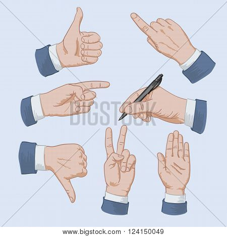 Set of business man hands showing different signs, pointing finger, pointing hand, like, dislike, signature, up hand, V hand