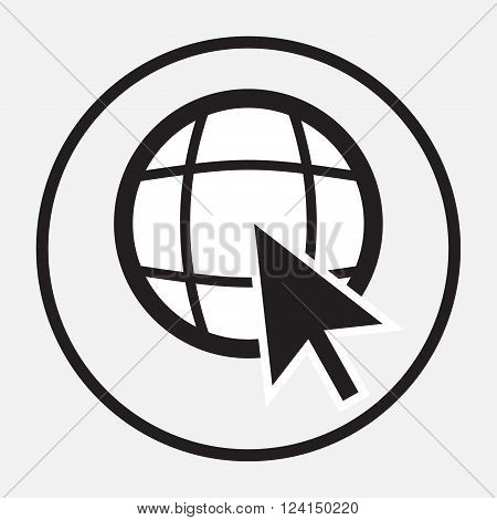 Web globe with arrow cursor monochrome. Globe web and world wide web www globe network. Internet earth web world. Vector flat design illustration