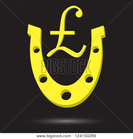 Golden horseshoe with symbol gold pound sterling. Golden lucky horseshoe and metal luck success gold fortune and talisman financial. Vector flat design illustration