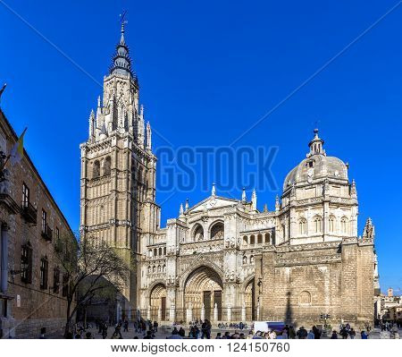 TOLEDO, SPAIN - MARCH 23, 2016: Vew of Toledo Cathedral in sunny day Spain.