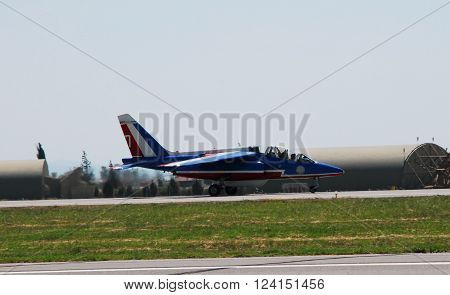 IZMIR/TURKEY-JUNE 5, 2011: French Air Force Aerobatic Team Patrouille De France's Alphajet at 2nd Main Jet Base-Cigli for Airshow.  June 5, 2011-Izmir/Turkey