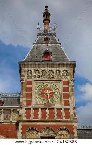 Central Railway Station building in Amsterdam, Netherlands ** Note: Soft Focus at 100%, best at smaller sizes