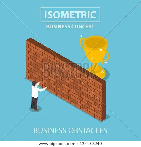 Isometric Businessman Standing In Front Of Brick Wall With Trophy Behind