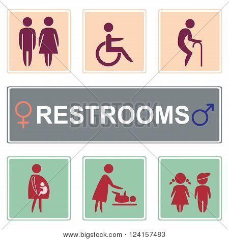 Vector restroom icons on grey & orange:menwomen lady gentleman baby's dummynipple child pregnancy elderly person & disability