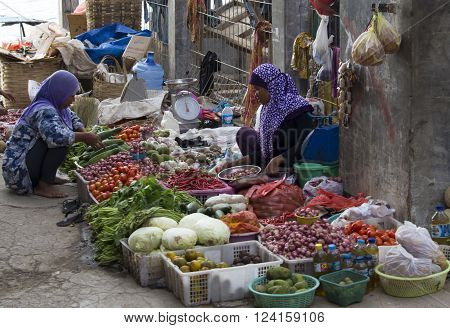 Flores, Indonesia - August 19, 2015: fruit and vegetable market in Flores, Indonesia