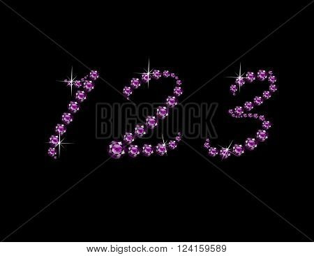 Numbers 1 2 and 3 in stunning Amethyst Script precious round jewels isolated on black.