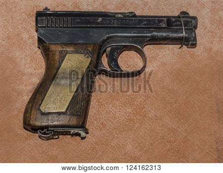 MOSCOW RUSSIA- DECEMBER 16 2015: - 6.35-mm pistol Mauser sample 1910/1934's Germany at the Central Museum of the armed forces on December 16; 2015 in Moscow