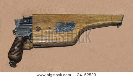 MOSCOW RUSSIA- DECEMBER 16 2015:  7.63-mm pistol Mauser owned by USSR Colonel- General M.M.Popov at the Central Museum of the armed forces on December 16; 2015 in Moscow