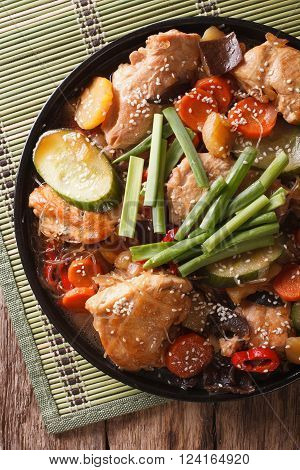 Dakjim Braised Chicken With Vegetables In A Korean Style Close-up. Vertical Top View