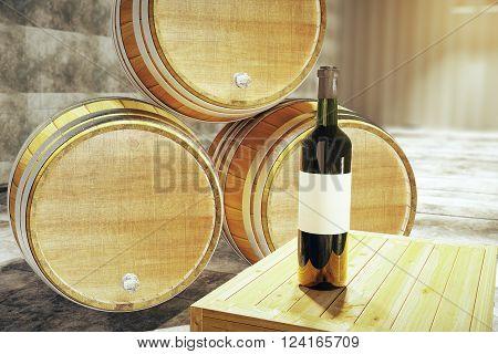 Wine Bottle And Barrels