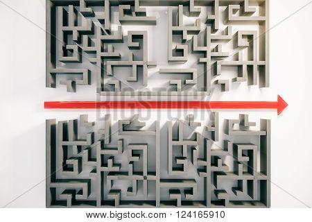 Maze With Red Arrow