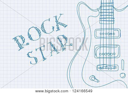 Inscription rock star on notebook sheet patterned guitar