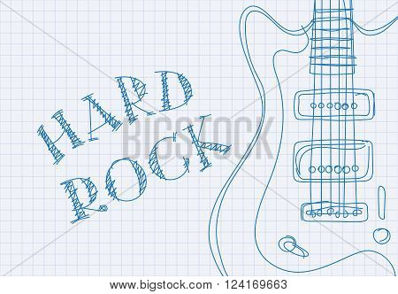 Inscription hard rock on notebook sheet patterned guitar
