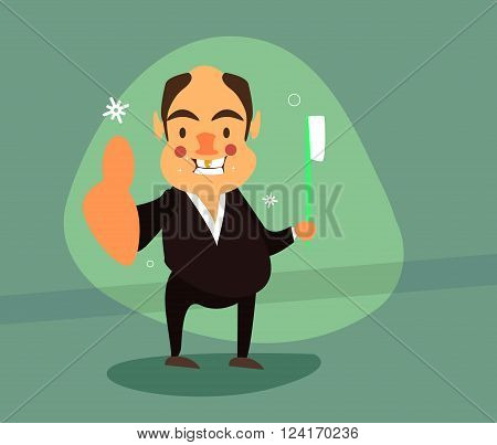 Smiling businessman in a tuxedo with a gold tooth and toothbrush shows class. Vector illustrations. EPS 10