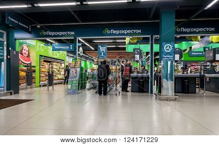 SAMARA RUSSIA - MARCH 29 2016: Interior of the Perekrestok (Crossroad) Samara Store. Perekrestok is a Russian supermarket chain operated by X5 Retail Group