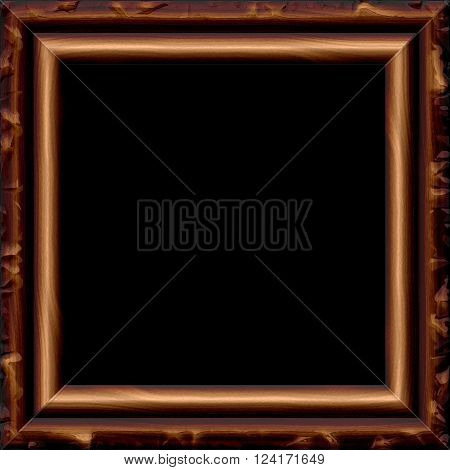 Retro brown brown wooden frame with patina
