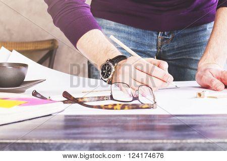 Man Drawing Closeup
