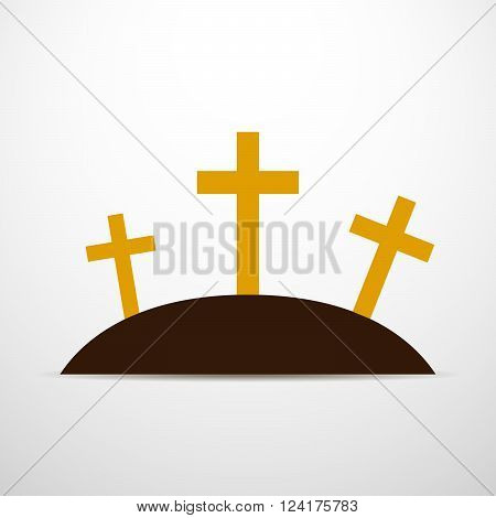 Simple calvary icon with three crosses on white background. Vector illustration in flat design.