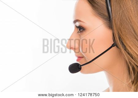Side View Portrait Of Pretty Young Agent Of Call Center