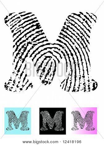 Fingerprint Alphabet Letter M.eps