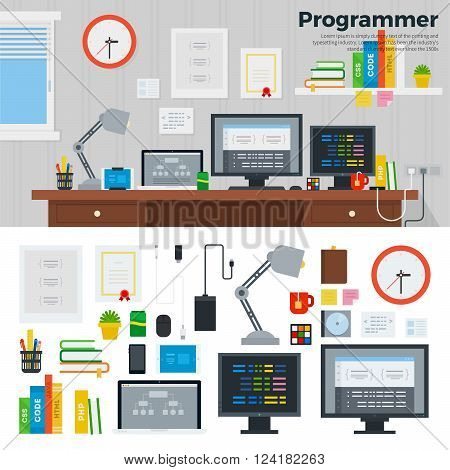 Programmer workspace vector flat illustration. Programmer room interior with digital tools. Software concept. Computers, monitors, cables, phone isolated on white background