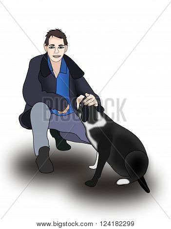 Illustration of a man patting a dog.