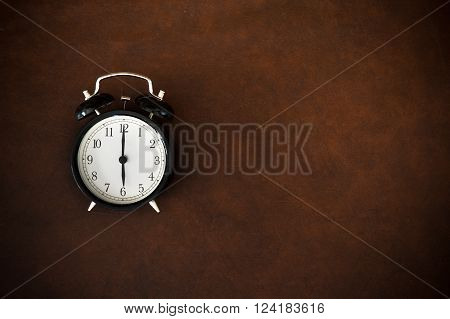 Vintage Alarm Clock On Six O Clock Hour