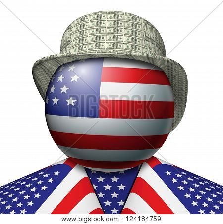 3D Illustration of a figure made up of the American flag with a hat made of dollars