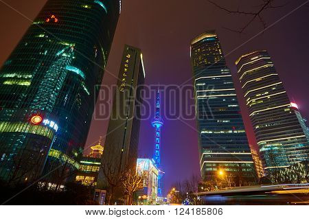 Shanghai, China - March 12, 2016: Oriental Pearl Tower at night