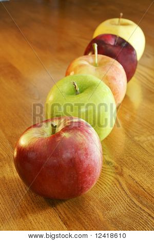 Row Of Colorful Apples
